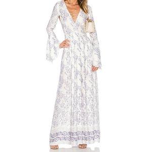 White purple paisley maxi dress